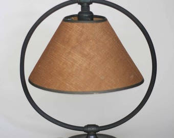 vintage metal lamp with burlap shade