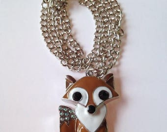BIG Clearance Sale Cute Brown and White Fox Pendant Metal Chain Necklace