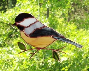 Chickadee - Large Stained Glass Bird Suncatcher 6817