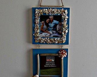 ON SALE Seashell and Driftwood Frames - 3 Teal Frames with Glass Inserts - 3 x 3 inch photo opening