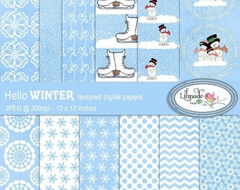 65%OFF SALE Winter digital papers, Snow digital papers,  Christmas digital papers, snowman digital papers, Christmas scrapbook papers, P197