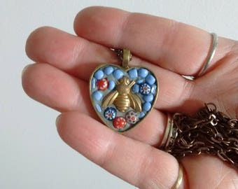 Mosaic pendant - pendant - bee - mosaic art - mosaic lover gift - bee lover- glass art gift - upcycle  - blue gift - pendant