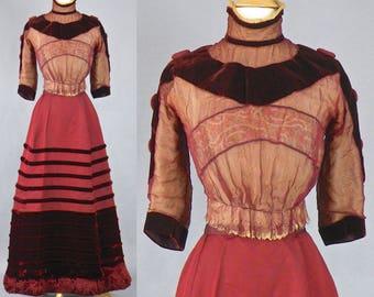Victorian Edwardian Wine Red Corded Silk & Velvet Dress, 1890s 1900s Dress, Floral Silk Ribbon Lace Bodice, Velvet Fringe Skirt, Steampunk