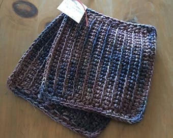 Pot Holders Earth Tones Crochet Set of 2 100% Cotton 2 Strands of Yarn Eco Friendly Large 8 1/2 x 8 1/2