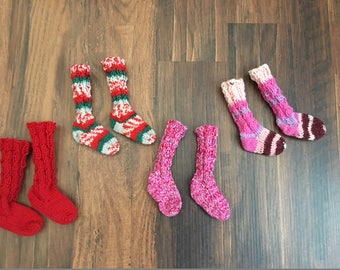Choice of Long Wool Cabled Socks for Sasha or Gregor Doll