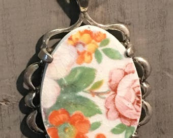 Broken China Pendant Sterling Silver Flowers