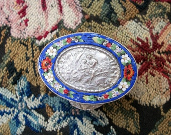 Vintage Mosaic Pill Box - Oval Shaped, Romantic Italian Couple in Repousse