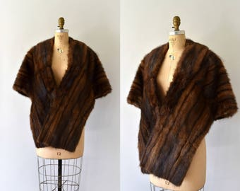 1950s Vintage Fur Stole - 50s Dark Brown Mink Fur Wrap