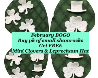Small Felt Shamrocks for Wax Dipping.DIY Kits for Independent Consultants-Quilt Appliques-Bible Journal-Planner Pages-Felt Clovers