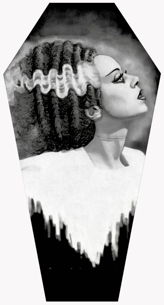 Bride of Frankenstein Coffin shaped stretched canvas