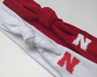 Nebraska Officially Top Knot Knit Headband Head Scarf- 2 Color Choices