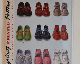 ON SALE Simplicity 2867, Baby Booties Pattern, Baby Shoes Sewing Pattern, Sewing Pattern, One Size, Uncut