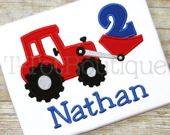 SALE - Farm Tractor Birthday Number Embroidered Shirt or Bodysuit - FREE PERSONALIZATION