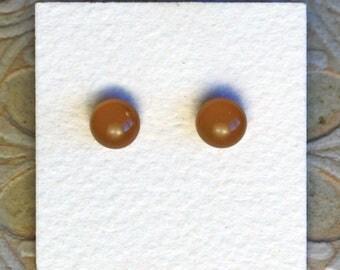 Fused Glass Earrings, Petite, Gingerbread DGE-1098