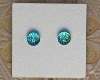 Dichroic Glass Earrings, Petite, Aqua Gold DGE-1136
