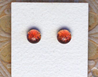 Dichroic Glass Earrings, Smokey Plum  DGE-1181