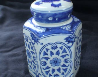 Blue & White Ceramic Tea Caddy
