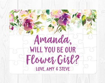 Flower Girl Proposal Card Will You Be Our Flower Girl Puzzle Proposal Purple Flower Girl Gift Card Purple Flower Girl Card Personalized