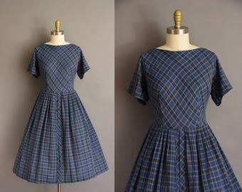 Plus Size vintage 1950s plaid cotton dress. vintage 50s dress