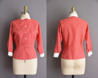 vintage 1950s red cotton blouse with peter pan collar Medium Valentines blouse