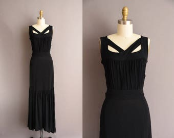 vintage 1930s slinky black rayon crepe Glamorous full length low back dress 30s bridesmaid gown