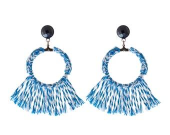 Blue tassel earring , Trendy textile hoop earrings , lightweight soft statement jewelry free shipping naama brosh