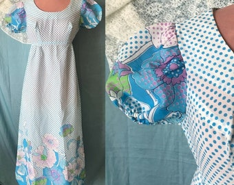 Vintage 70s Mod Maxi Dress, Flower Power, Dots, Full Length Empire, Jerell of Texas, Fits Size XS