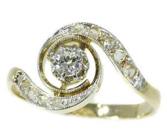 ON SALE Belle Epoque diamond engagement ring twister model 18k yellow gold old European cut diamond 1900s