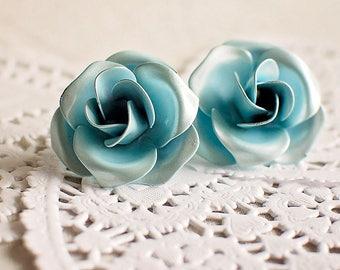 Baby Blue Rose Post Earrings