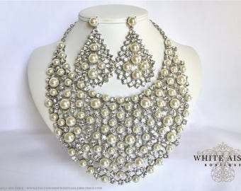 Ivory Pearl Bridal Jewelry Set Crystal Wedding Bib Necklace Earrings Vintage Inspired Prom Evening Pageant Jewelry