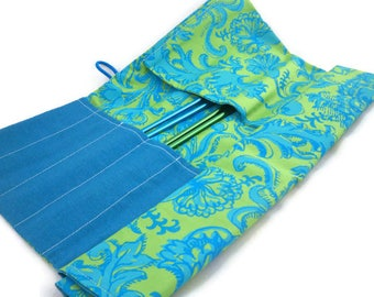 Knitting needle storage roll handmade green and blue beautiful print cotton with unique buttons