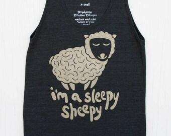 Cute Unisex Silk Screened Tank Top - Sleepy Sheepy