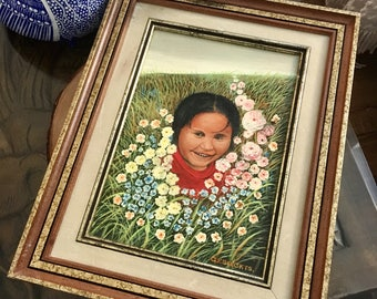Vintage Original Oil Painting of Native American Child among Wildflowers