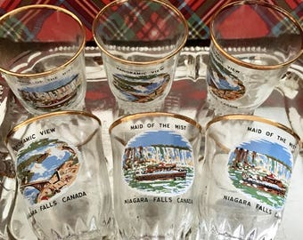 Vintage Niagra Falls Shot Glass Set of 6 With Tray / Canadiana