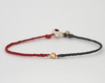 Diamond friendship bracelet - braided frienship bracelet 14k solid gold