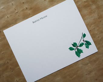 NEW! Holly Branch with Red Berry Custom Notecard Stationery. Thank You, Any Occasion, Personalize Watercolor Print, Set of 10.