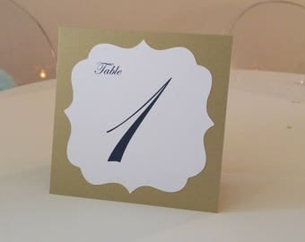 Wedding Table Numbers Tented Vintage Label Design in Colors to Coordinate with your Reception or Shower Decor