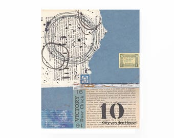 "Ten / 10 - an original mixed media collage - 8""x 10"""