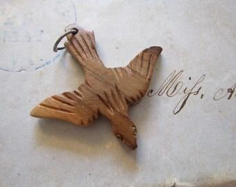 carved wooden bird charm - wood bird charm, pendant charm