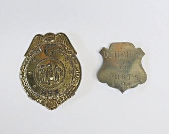 1930s POST'S Cereal Premium Toy Badges - G MEN and Junior Detective Badge - Man Cave Decor