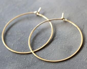 """Solid 14k Gold Hoop Earrings - Genuine Gold Hoops - Medium ( 1.5"""" ) thin hoop earrings, gold hoop earrings, gold earrings"""