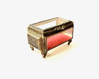 Ornate Gold Filigree Metal footed Jewelry Box with beveled Glass top and sides