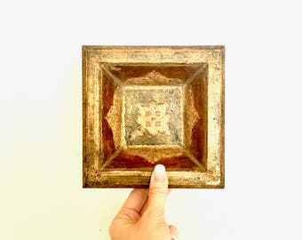 Gold and Red Florentine Square Bowl