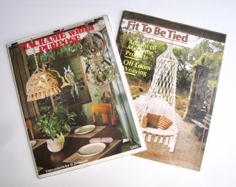 2 Macrame Pattern Books - Home Decor with Macrame - Patterns for Macrame Furnishings / Hanging Chair