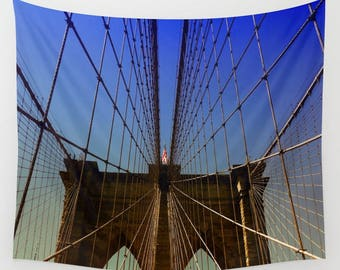 Brooklyn Bridge Wall Tapestry, New York Wall Hanging, Brooklyn Bridge Wall Decor, Large Brooklyn Bridge Tapestry, Bridge Architecture Art