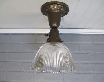 vintage ceiling lighting. Vintage HOLOPHANE Flush Mount Ceiling Light Farmhouse Decor Brass Single Bulb Fixture 10 1 Lighting D