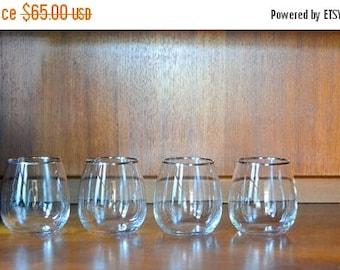 SALE 25% OFF vintage mid-century modern silver rimmed roly poly stemless wine glasses / vintage barware / vintage glassware