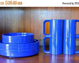 SALE 25% OFF vintage blue heller massimo vignelli coffee cups and plates / midcentury modern kitchen / cobalt blue