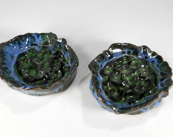 Ceramic soap dishes set of 2, stoneware pottery soap holder, hand soap pottery bathroom accessory soap dish forest green glaze