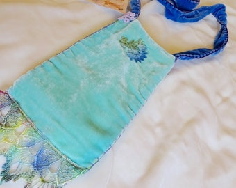 Magic Bag Silk Velvet Treasure Bag Purse Pouch Boho Hippie Vintage Recycled Upcycled Lace Embroidery Handmade Hand Sewn
